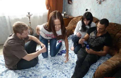 Elena, Mari, Misha & Kostya - YoungSexParties.com - Home sex party with ebony flavor  720 P (MP4)
