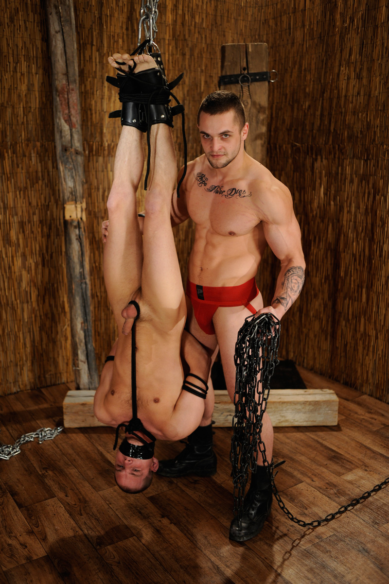 Tied up of a gay man naked in public films 5