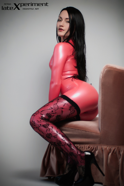 In latex sexy shiny woman