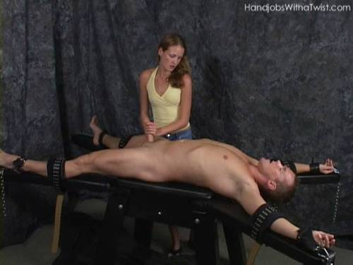 Tied down forced to cum
